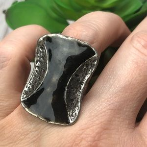 Black Hourglass Silver Statement Adjustable Ring